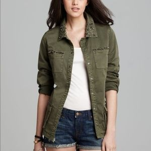 NWT Guess Military Twill Olive Green Stud Jacket